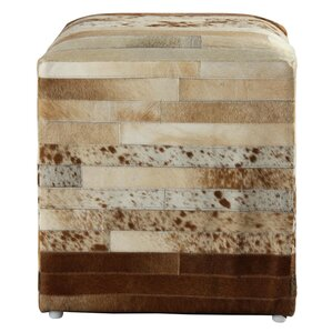 Glacier Striped Leather Pouf Ottoman by Loon Peak