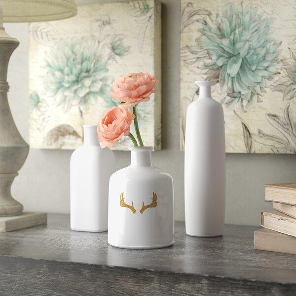 Set Of 3 White Vases Wayfair