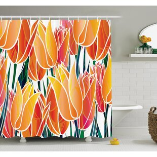 Floral Tulip Garden Shower Curtain Set