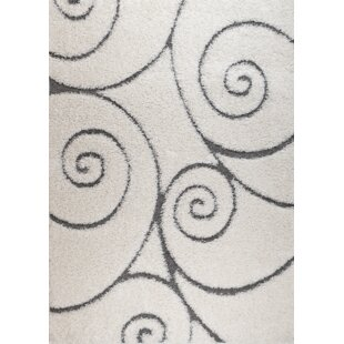 Quaoar White Swirl Area Rug By Wrought Studio