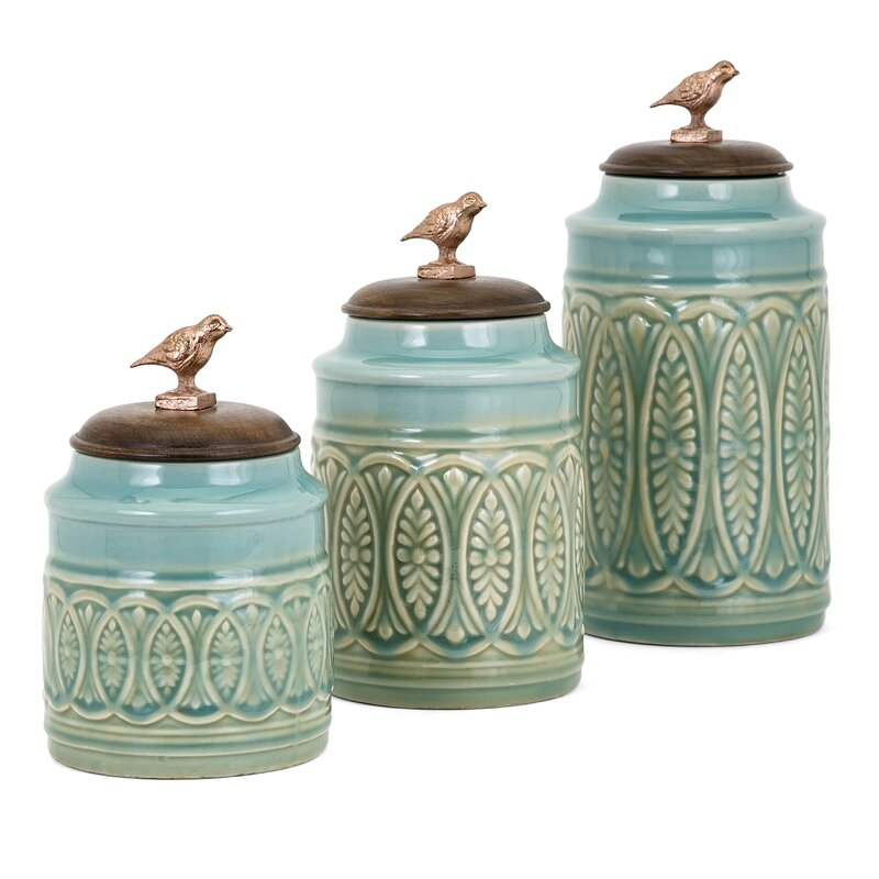 trisha yearwood home collection songbird 3 piece kitchen canister