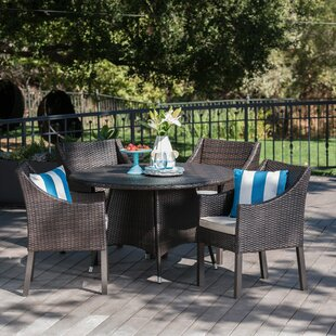 Arevalo Outdoor Wicker 5 Piece Dining Set with Cushions