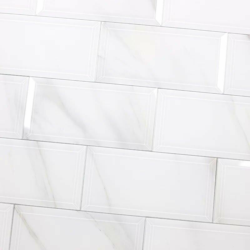 Nature Wall Backsplash Beveled Edge 4 X 8 Gl Subway Tile In White