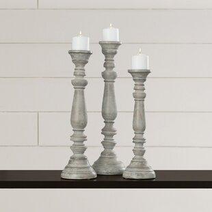 La Sarre 3 Piece Wood Candlestick Set