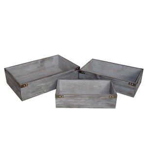3 Piece Washed Wooden Storage Crate Set