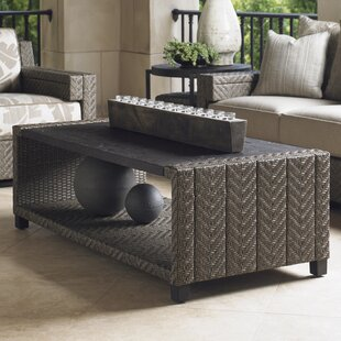Blue Olive Wicker Rattan Coffee Table by Tommy Bahama Outdoor Design