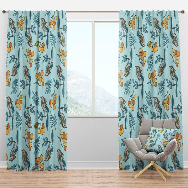 Designart Seamless Decorative With Birds Berries Floral Semi Sheer Thermal Rod Pocket Curtain Panel Wayfair