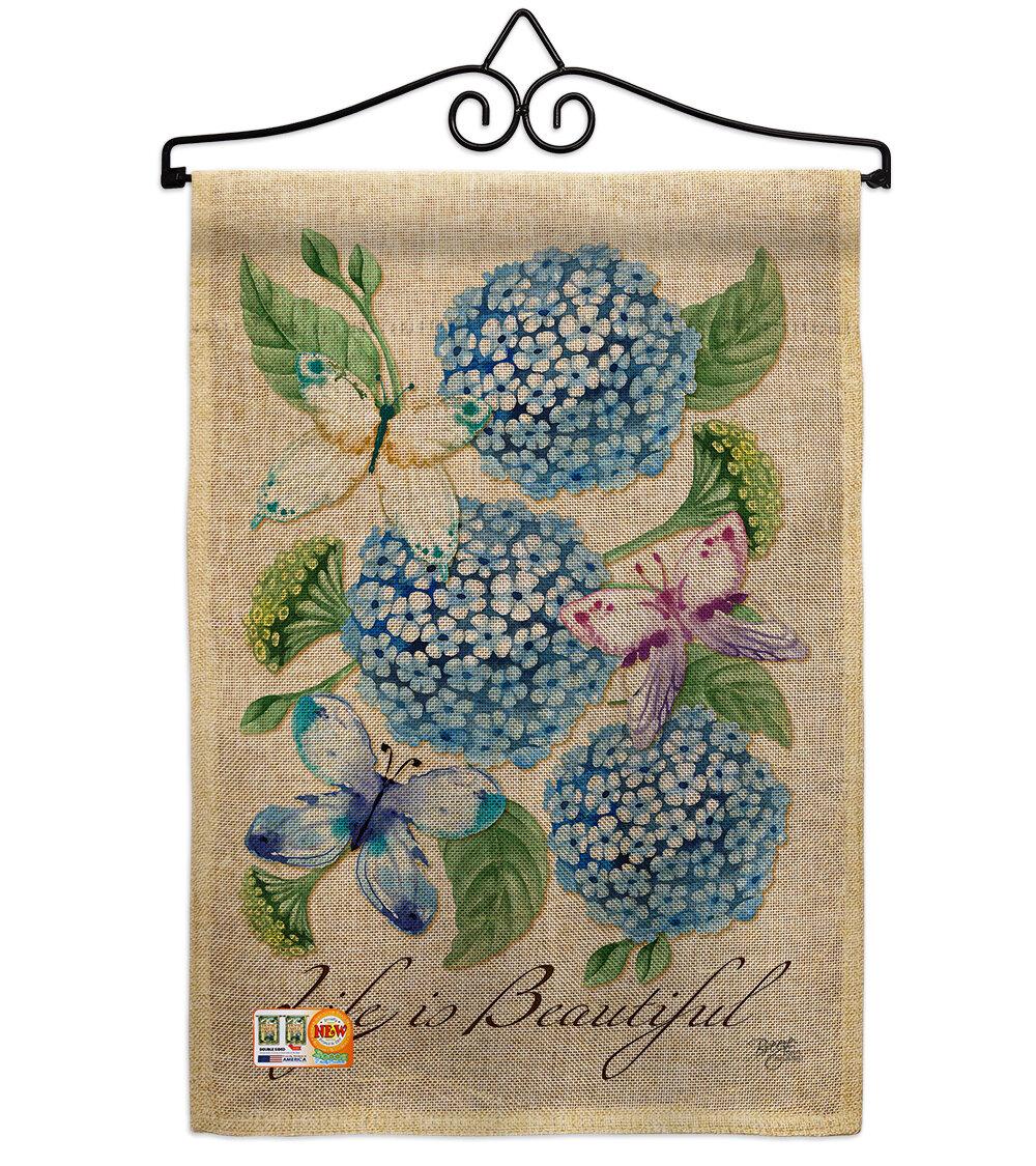 Breeze Decor Life Is Beautiful Hydrangeas 2 Sided Burlap 19 X 13 In Garden Flag Wayfair
