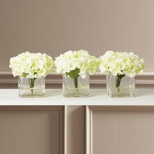 Faux Potted Mini Hydrangea Fl Arrangement In Vase Set Of 3