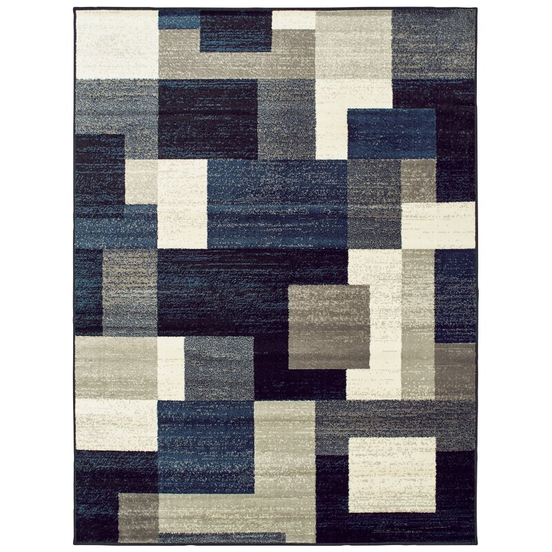 Image of Taira Block Blue/Gray Area Rug up to 14% off