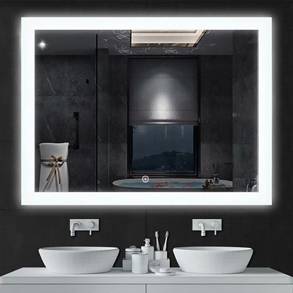 Orren Ellis Hartvig Luminous Modern Contemporary Frameless Lighted Bathroom Vanity Mirror Wayfair