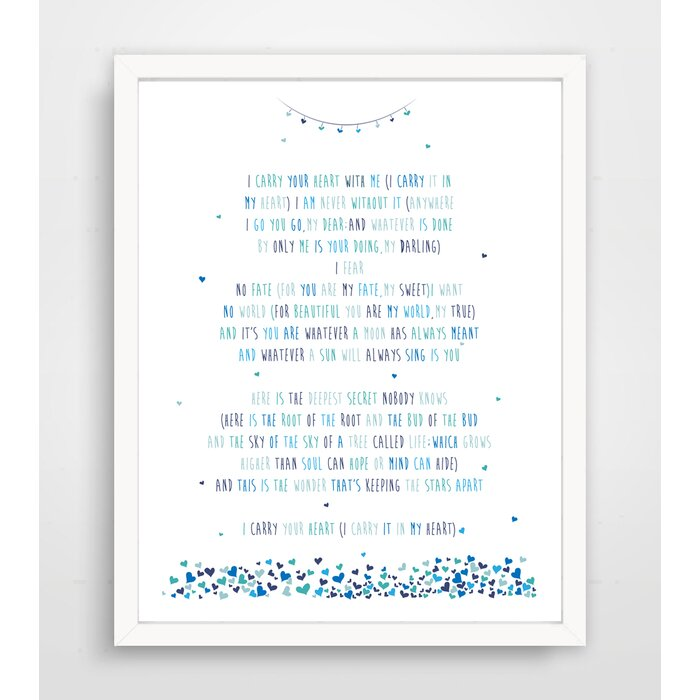 Jermaine I Carry Your Heart With Me Ee Cummings Poem Paper Print