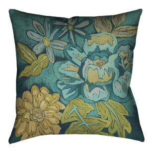 Teal Bouquet II Outdoor Throw Pillow