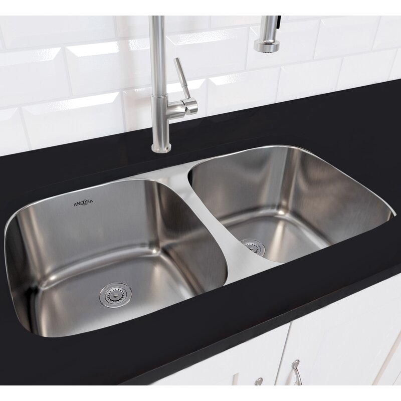 Ancona Capri Series Stainless Steel 32 3 L X 23 W Double Bowl Undermount Kitchen Sink With Grid And Strainers Wayfair