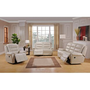 Shantell Leather Match Reclining Living Room Set by Red Barrel Studio