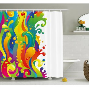 Sherry Digital Made Liquid Wavy Rainbow Color Paint Splash Contemporary Psychedelic Image Single Shower Curtain