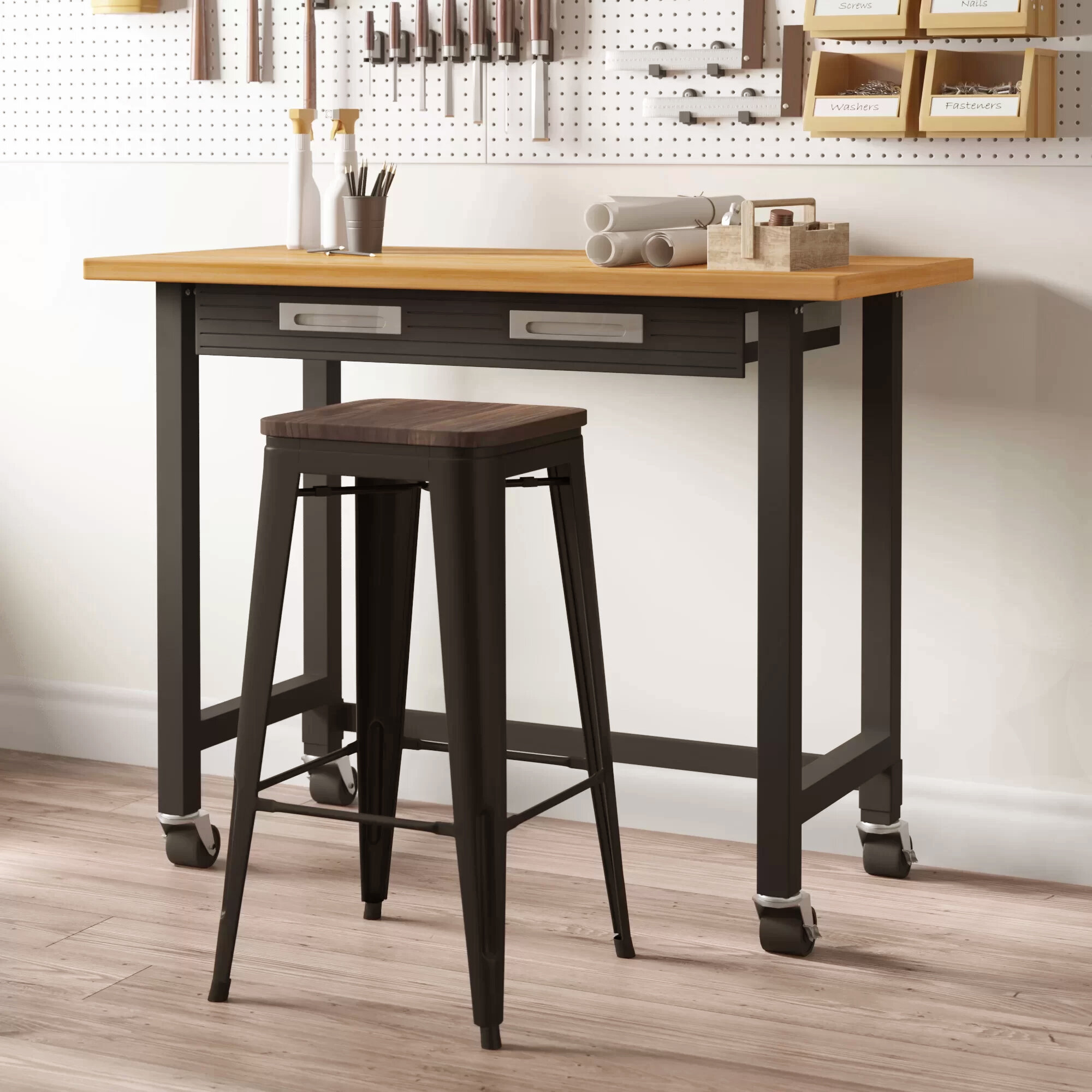 Awesome Dunn 48W Wood Top Workbench Squirreltailoven Fun Painted Chair Ideas Images Squirreltailovenorg