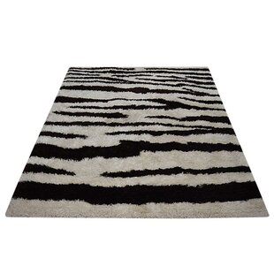 Top Reviews Cecelia Shag Contemporary Hand-Tufted Black/White Area Rug By World Menagerie