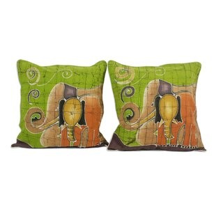 Elephant's Reminiscences Batik Cotton Pillow Cover (Set of 2)