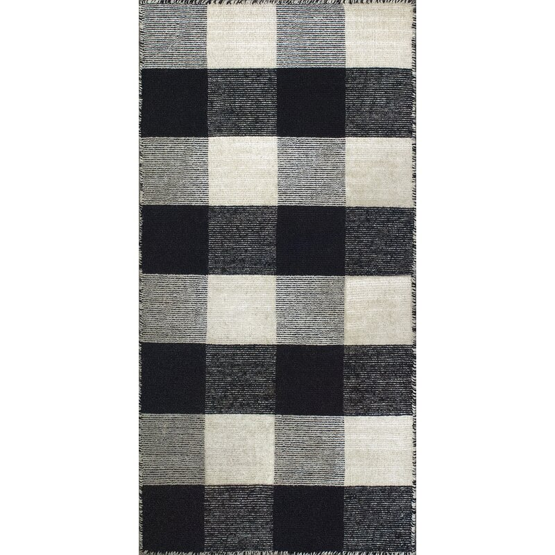 August Grove Pickering Hand Woven Wool Black Ivory Area