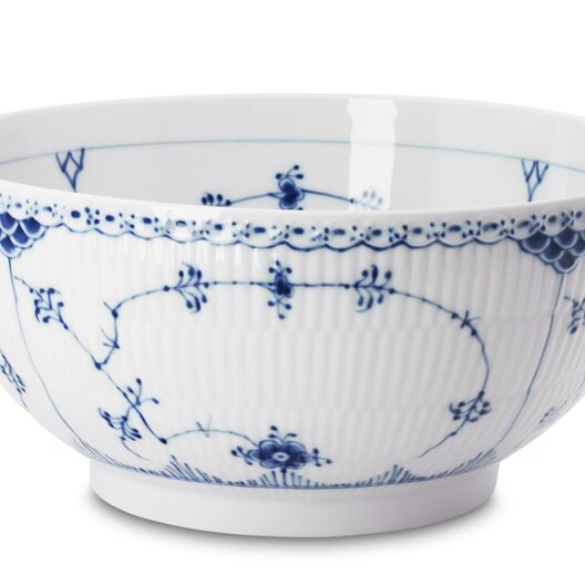 Royal Copenhagen Blue Fluted Half Lace 104 Fl Oz Salad Bowl Perigold