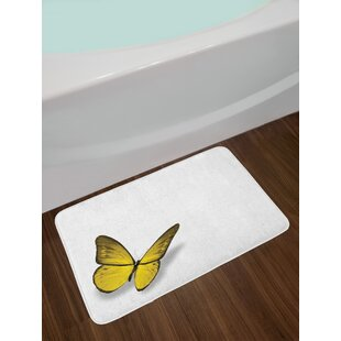 Ambesonne Yellow Bath Mat by, Romantic Butterfly with Yellow Wings of the Spring Coming of the Summer Sign, Plush Bathroom Decor Mat with Non Slip Backing, 29.5 W X 17.5 W Inches, Yellow Green Brown