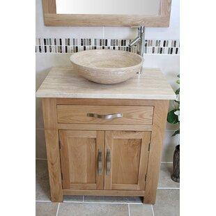 Free Standing Basin Vanity Cabinet Units ELEGANT 595mm Vanity Cabinet with Sink High Gloss White 2 Soft Close Door Bathroom Vanity Sink Units Polyresin Basin