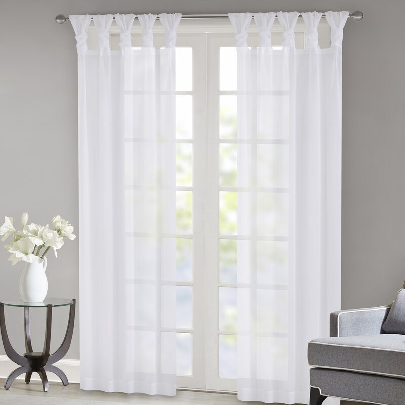 Kater Twisted Voile Solid Sheer Tab Top Curtain Panels