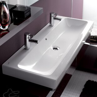 Price Check ICon Ceramic Rectangular Vessel Bathroom Sink with Overflow By Bissonnet