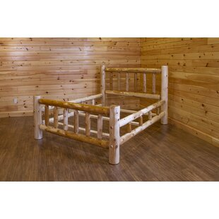 Trumbull Rustic White Cedar Log Double Side Rail Panel Bed by Loon Peak
