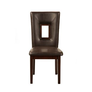 Bharsakal Rubberwood Genuine Leather Upholstered Dining Chair (Set of 2) Latitude Run