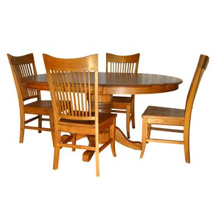 Nesbitt Classic Butterfly 5 Piece Extendable Solid Wood Dining Set