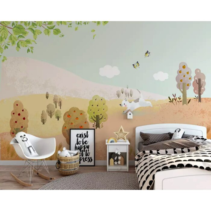 Treva Fruit Tree Cartoon Puppy Kids Room Textile Texture Wall Mural