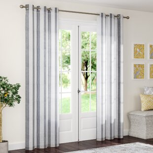 Enfield Striped Semi-Sheer Grommet Curtain Panels (Set of 2) by The Twillery Co.