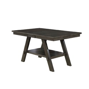 Corlyn Solid Wood Dining Table with Lower Shelf Gracie Oaks