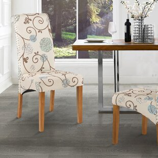 Melker Upholstered Parsons Chair in Cream Set of 4