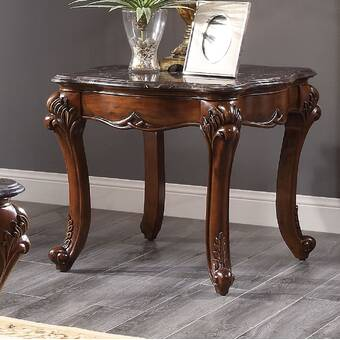 Astoria Grand Sturdivant Marble Top With Motif Engraved Angular Wood Feet End Table Wayfair Ca