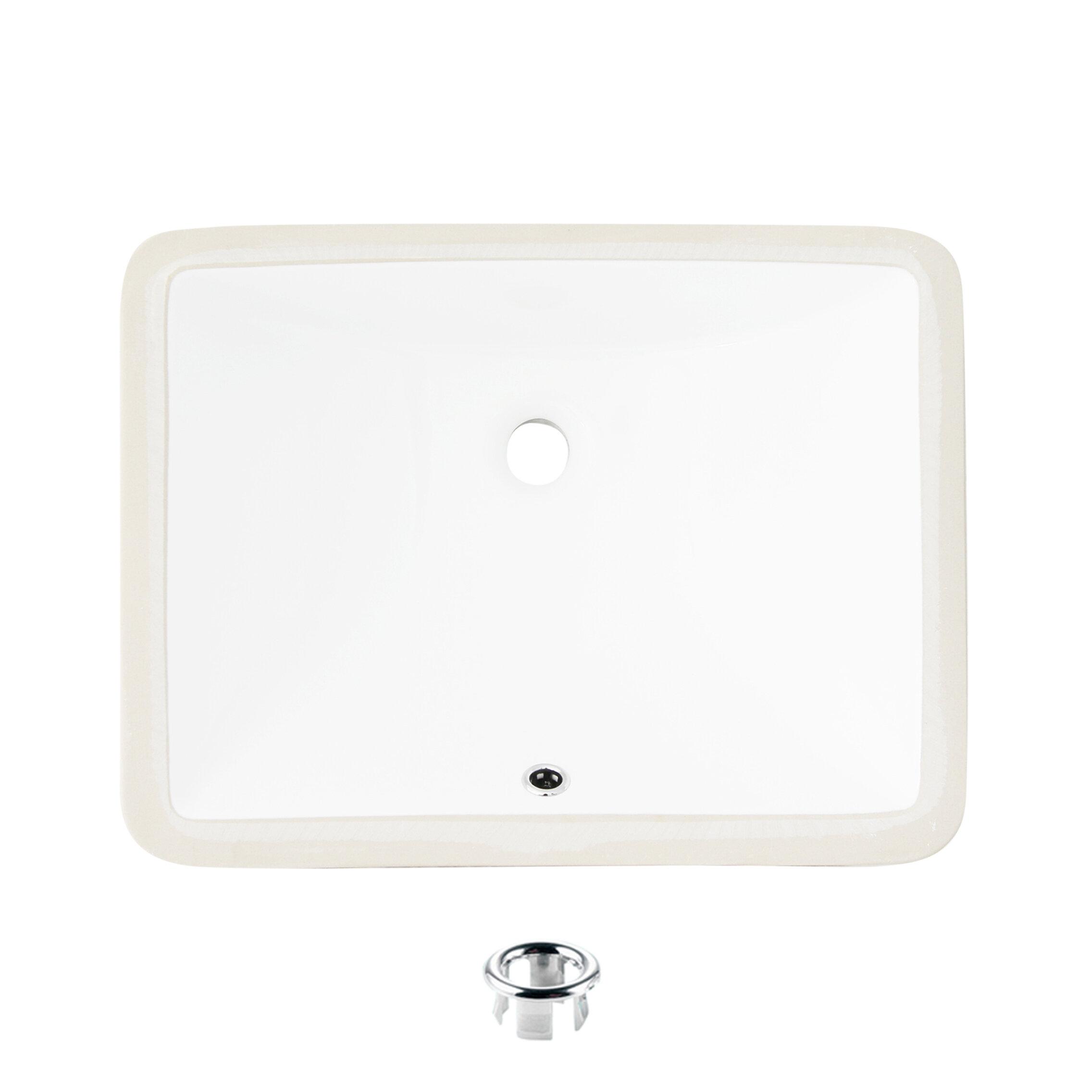 Stylish White Ceramic Rectangular Undermount Bathroom Sink With Overflow Reviews Wayfair