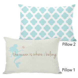 Coral The Ocean Is Where I Belong and All over Moroccan Aqua 2 Piece Lumbar Pillow Set