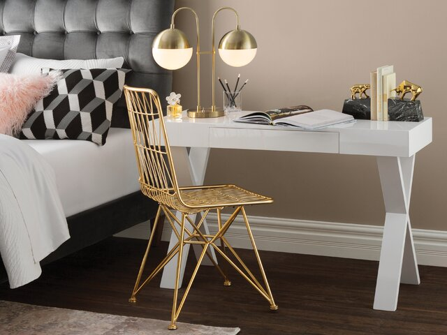 Oak Trendy White Desk Concepts Glam Bedroom Design. Modern Indoor Design