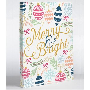 'Merry & Bright' Graphic Art Print on Wrapped Canvas