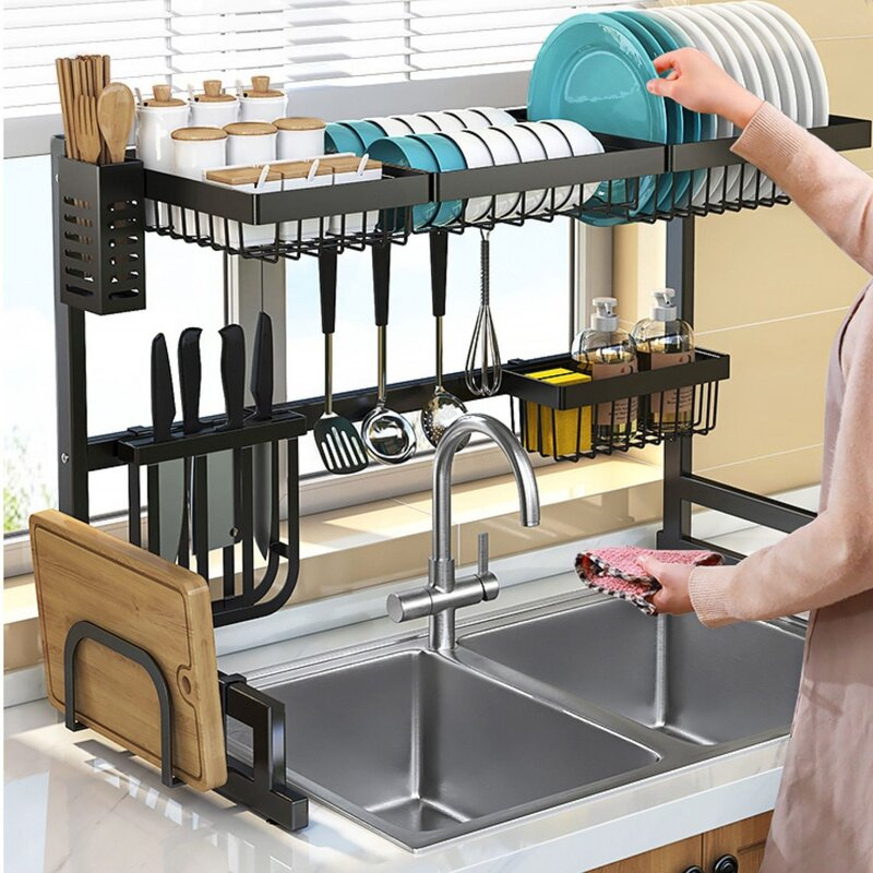 Toolkiss Stainless Steel Over The Sink Dish Rack Reviews Wayfair