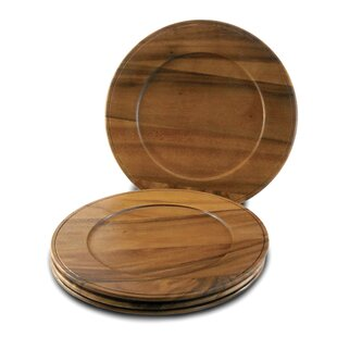 Acacia Beaded Edge Charger (Set of 4)  sc 1 st  Wayfair & Wood Slice Charger | Wayfair