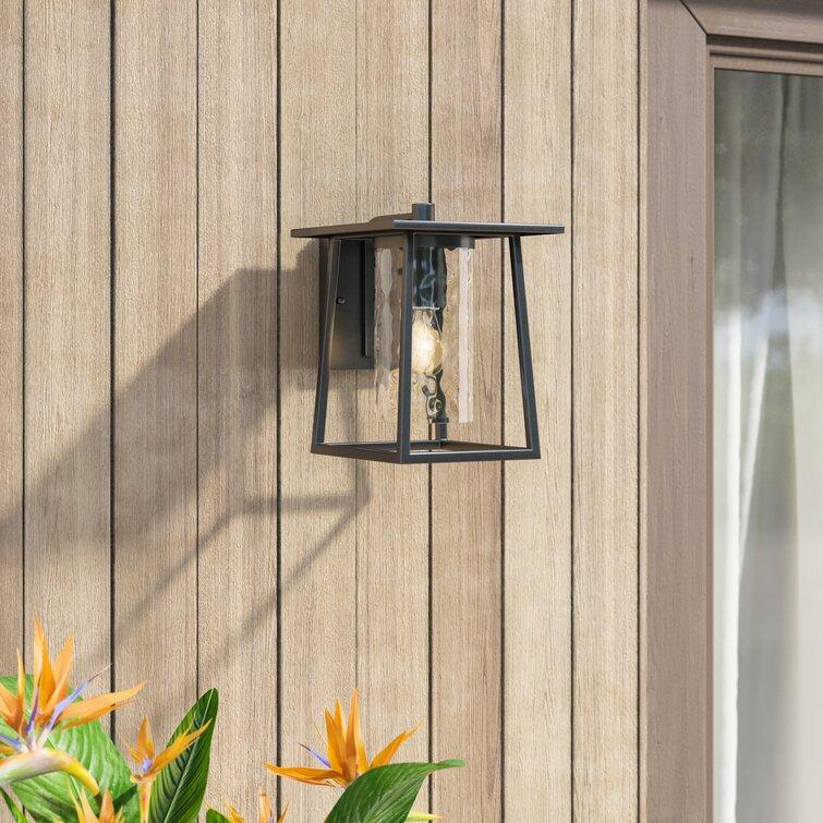 Bissonnette Mystic Black 9'' H Hammered Glass Outdoor Wall Lantern