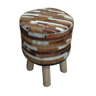 Madalyn Leather Upholstered Round Armless Accent Stool by Millwood Pines