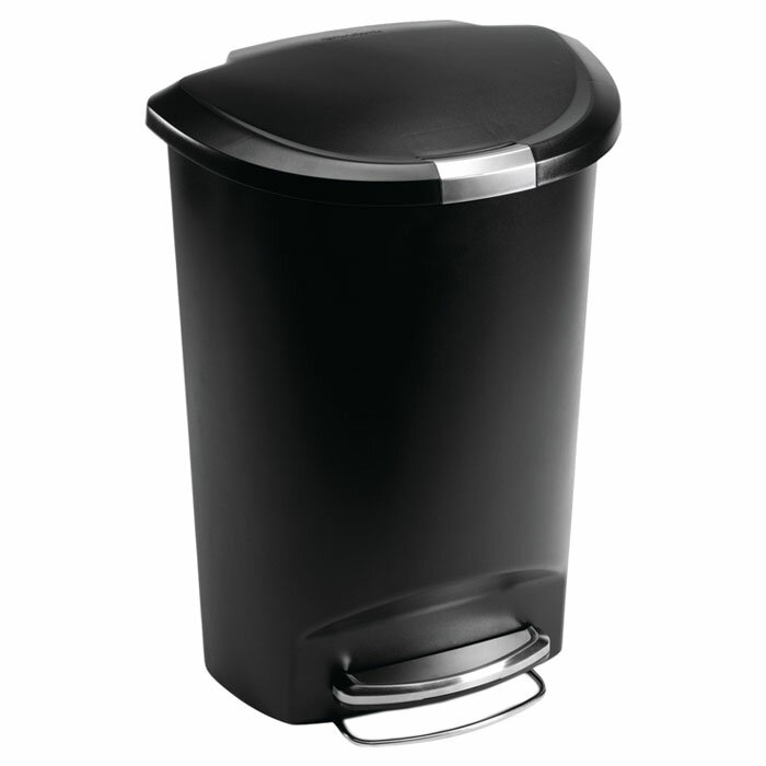 13 Gallon Semi Round Step Trash Can Plastic
