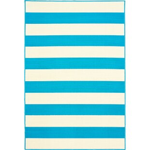 Affordable Price Deverick Stripe Blue/White Indoor/Outdoor Area Rug By Ebern Designs