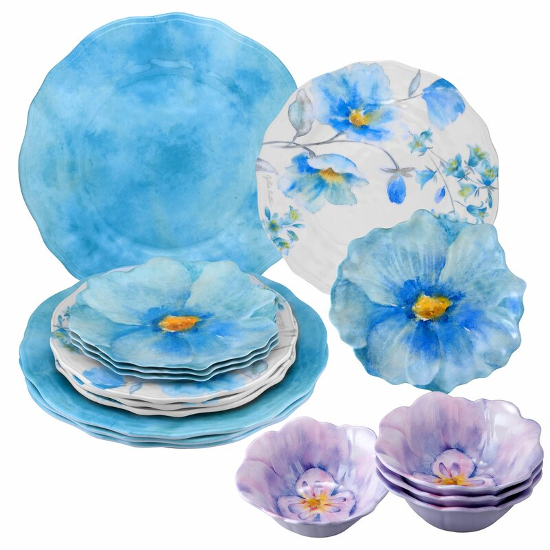 August Grove Vanzant Floral 16 Piece Dinnerware Set Service For 4