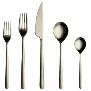 Linea Ice 5 Piece 18/10 Stainless Steel Flatware Set, Service for 1