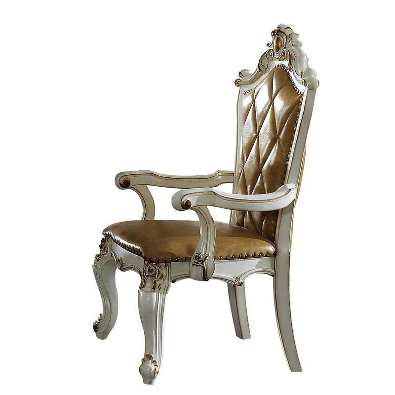 Rosdorf Park Falgout Tufted Arm Chair In Antique Pearl Wayfair